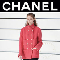 CHANEL ICON Casual Style Wool Tweed Blended Fabrics Street Style Plain