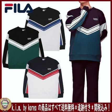 FILA Sweatshirts Unisex Street Style Long Sleeves Cotton Sweatshirts