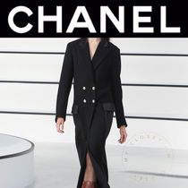 CHANEL ICON Casual Style Wool Blended Fabrics Street Style Plain Long