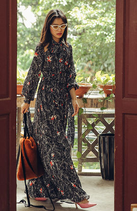 Flower Patterns Casual Style Maxi Blended Fabrics