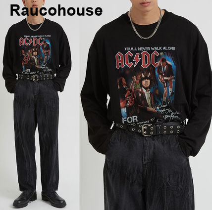 Raucohouse More T-Shirts Plain Cotton Short Sleeves Oversized Logo T-Shirts