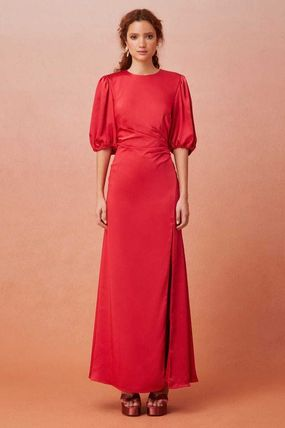 Wrap Dresses Cropped Plain Long Party Style Elegant Style