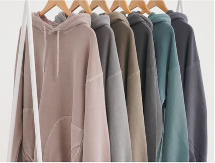 Street Style Long Sleeves Plain Cotton Oversized Hoodies