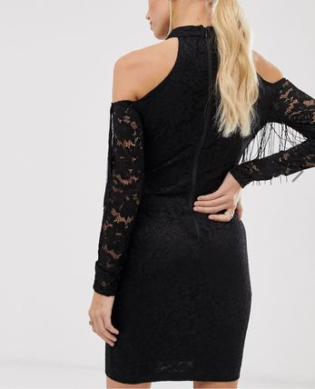 Tight Long Sleeves Plain Party Style High-Neck Lace