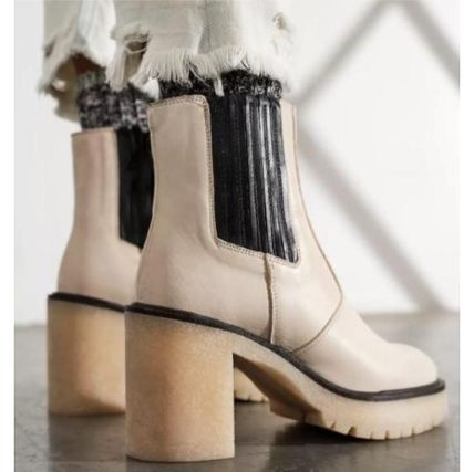 Casual Style Plain Leather Block Heels Chelsea Boots