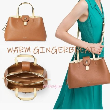2WAY Plain Leather Office Style Elegant Style Satchels