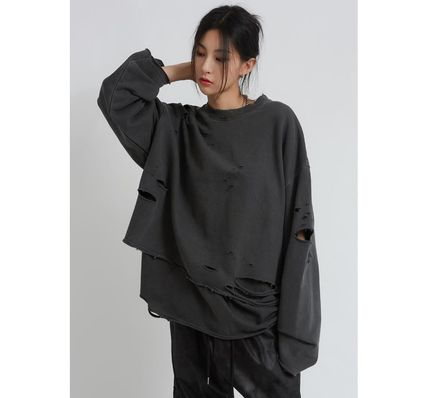 Raucohouse Long Sleeves Plain Cotton Oversized Long Sleeve T-shirt