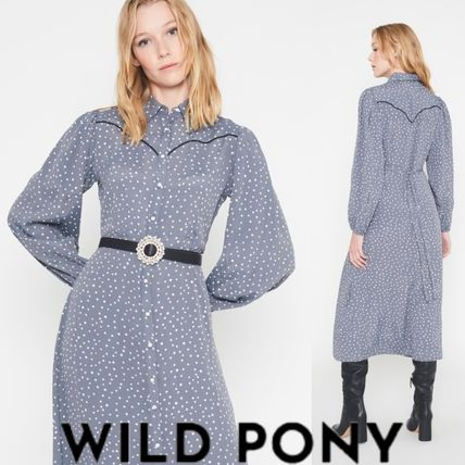 Dots Casual Style Long Sleeves Long Dresses