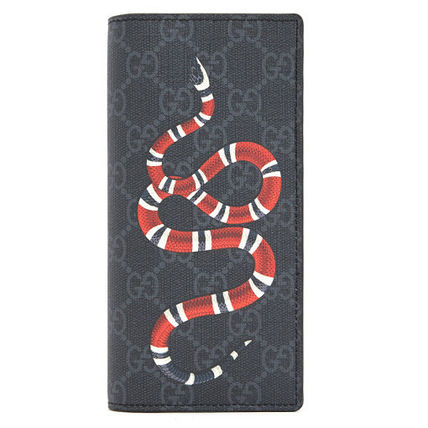 GUCCI Leather PVC Clothing Folding Wallet Long Wallets