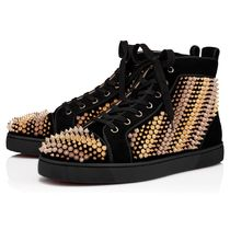 Christian Louboutin Stripes Suede Blended Fabrics Studded Sneakers