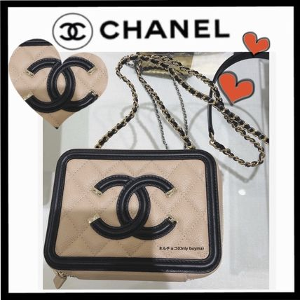CHANEL ICON Calfskin 2WAY Chain Plain Party Style Crossbody