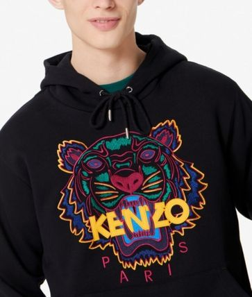 KENZO Hoodies Long Sleeves Plain Cotton Logo Designers Hoodies 3
