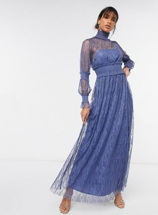 Maxi Blended Fabrics Party Style High-Neck Lace Dresses