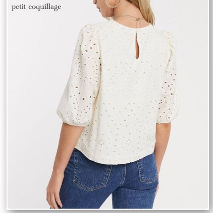 Casual Style Plain Cotton Medium Short Sleeves Puff Sleeves