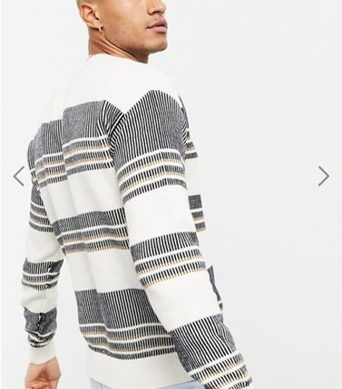 Crew Neck Stripes Long Sleeves Cotton Sweaters