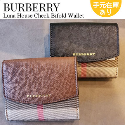 Burberry Other Plaid Patterns Unisex Canvas Leather Folding Wallet