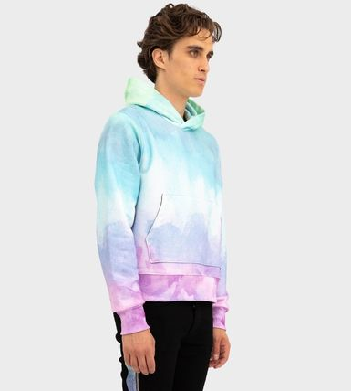 AMIRI Logo Pullovers Unisex Tie-dye Long Sleeves Cotton