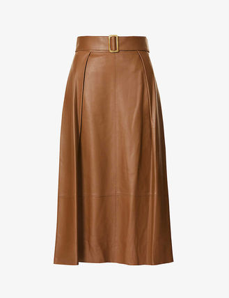 ◆NEW Vince Leather Belted Skirt