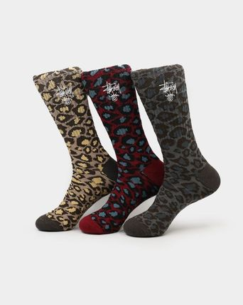 STUSSY Leopard Patterns Cotton Undershirts & Socks