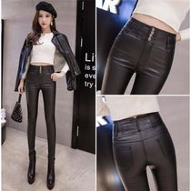Faux Fur Plain Leather & Faux Leather Pants