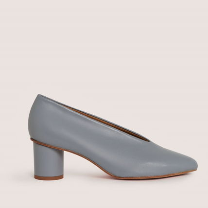 Plain Toe Casual Style Plain Leather Block Heels Party Style