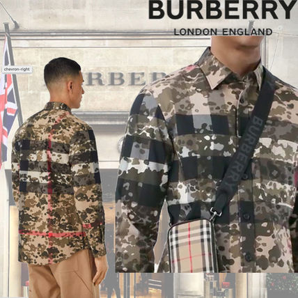 Burberry Camouflage Long Sleeves Luxury Shirts