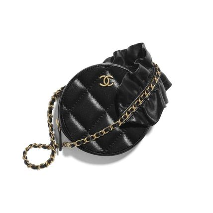 CHANEL MATELASSE Casual Style Lambskin Chain Plain Leather Party Style