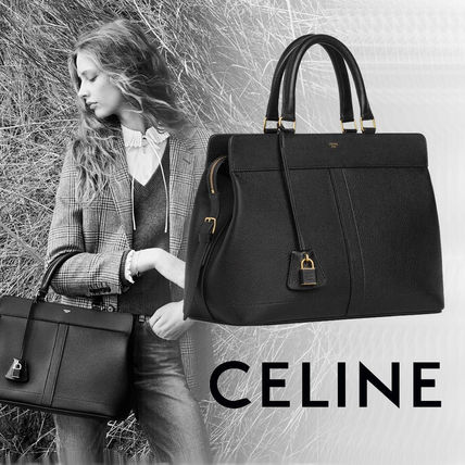 CELINE Cabas Casual Style Calfskin A4 2WAY Plain Office Style