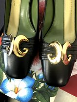 GUCCI Leather Logo Kitten Heel Pumps & Mules