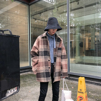 Gingham Glen Patterns Wool Street Style Oversized