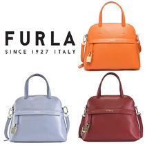 FURLA PIPER Casual Style Unisex 2WAY Plain Leather Party Style