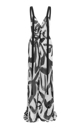 Tropical Patterns Casual Style Maxi A-line Silk Sleeveless