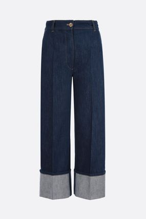 PATOU Denim Street Style Cotton Center Pressed Wide & Flared Jeans