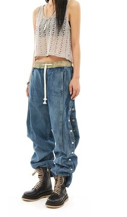 Denim Street Style Collaboration Plain Cotton Long Jeans