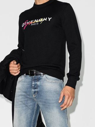 GIVENCHY Sweaters Crew Neck Pullovers Wool Long Sleeves Logo Luxury Sweaters