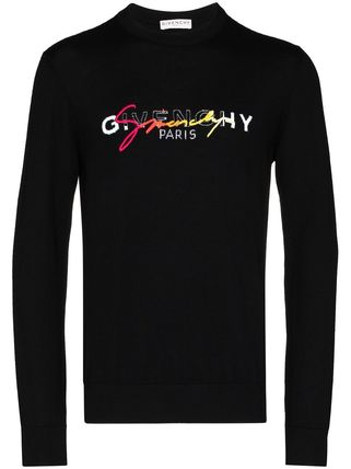 GIVENCHY Sweaters Crew Neck Pullovers Wool Long Sleeves Logo Luxury Sweaters 3