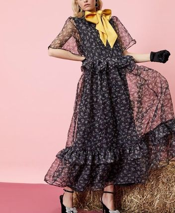 Flower Patterns Casual Style Maxi Long Short Sleeves