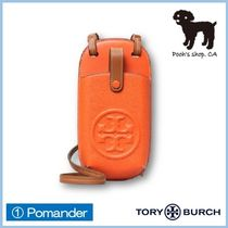 Tory Burch PERRY Plain Leather Logo Smart Phone Cases