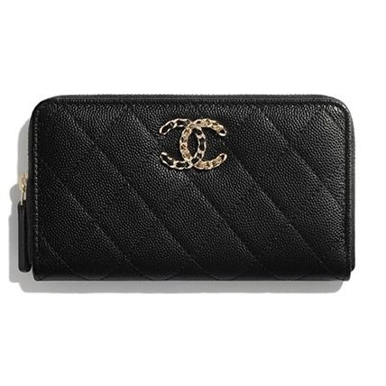 CHANEL Calfskin Plain Leather Long Wallet  Logo Long Wallets