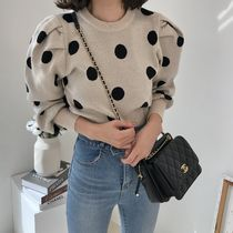 Crew Neck Short Dots Casual Style U-Neck Long Sleeves Medium
