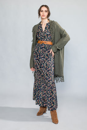 Flower Patterns Maxi V-Neck Long Sleeves Long Elegant Style