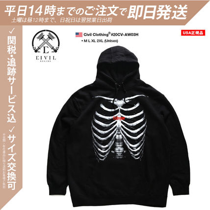 Pullovers Skull Unisex Street Style Long Sleeves Cotton