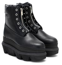 sacai Platform Rubber Sole Casual Style Plain Leather Wedge Boots