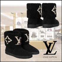 Louis Vuitton Monogram Rubber Sole Suede Leather Shearling Logo