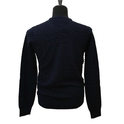 EMPORIO ARMANI Crew Neck Pullovers Long Sleeves Plain Sweaters