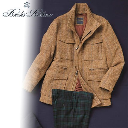 Short Tweed Plain Military Jackets