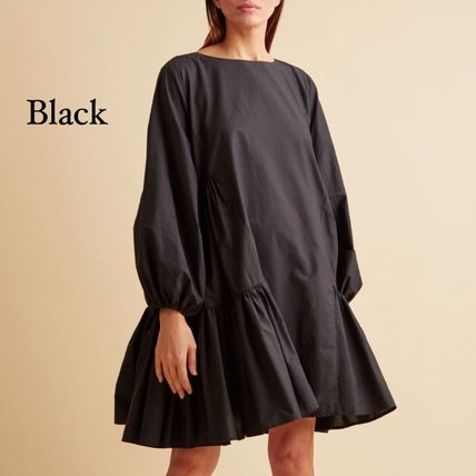 Short Casual Style A-line Flared Boat Neck Long Sleeves