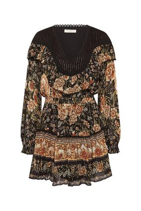 Flower Patterns Casual Style Flared Cotton Dresses