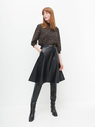 Flared Skirts Casual Style Faux Fur Plain Medium