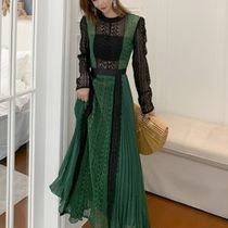 A-line Flared U-Neck Long Sleeves Long Party Style Lace